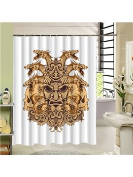 Scary Yellow Mask with Snake Hair Printing 3D Shower Curtain