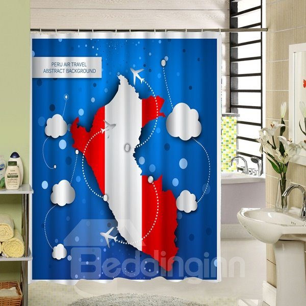 Peru Air Travel Printing 3D Waterproof Polyester Shower Curtain