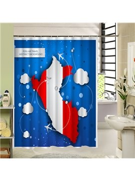 Peru Air Travel Printing 3D Waterproof Polyester Shower Curtain