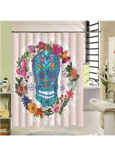 Colored Skull with Flowers Printing 3D Bathroom Shower Curtain