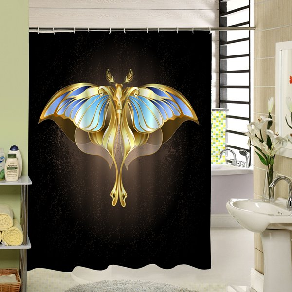 Golden Strange Butterfly Man Printing Bathroom Shower Curtain