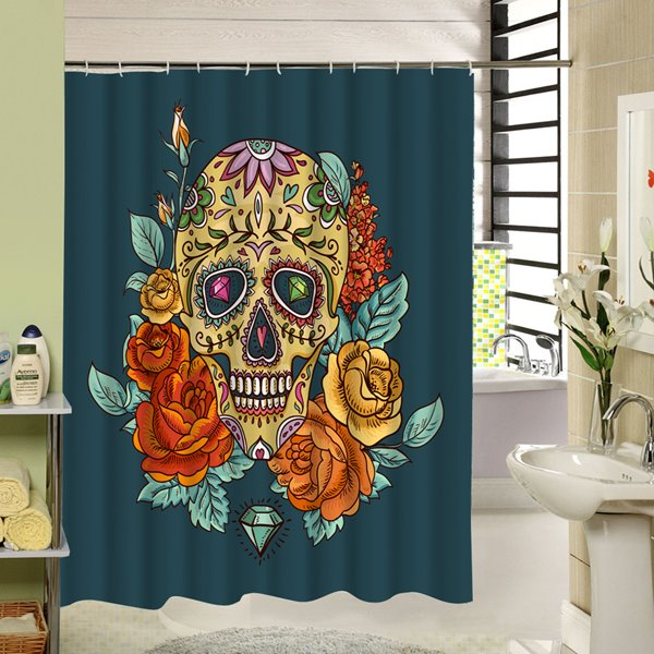 3D Skulls and Flowers Printed Polyester Green Shower Curtain