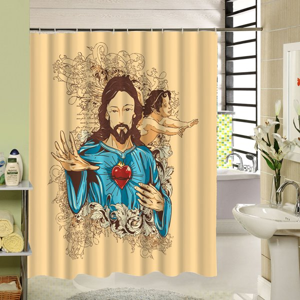 Religious Character Printing 3D Waterproof Polyester Shower Curtain