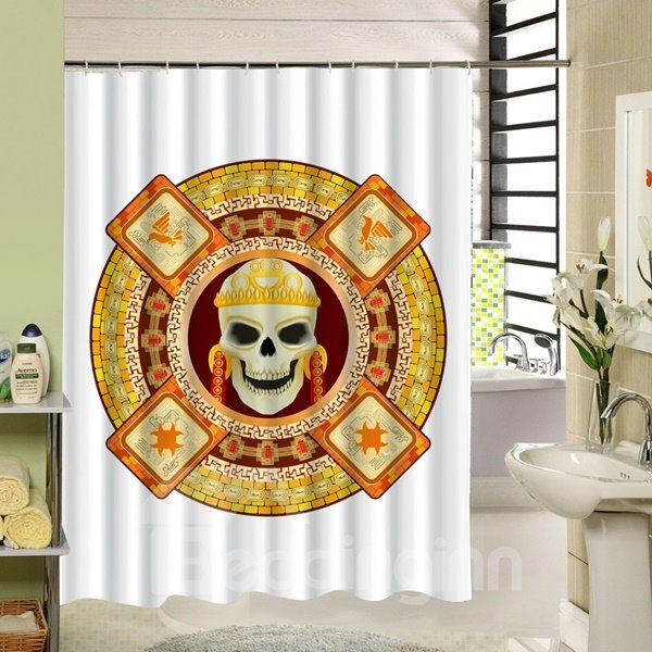 3D Egyptian Style Skull Printed Polyester White Shower Curtain