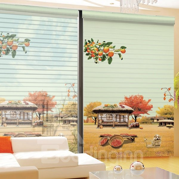 Autumn Harvest in the Farm Printing 3D Shangri-La Blinds & Roller Shades
