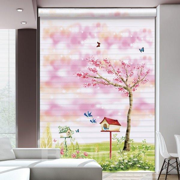Romantic Pink Flower Tree in Wilderness Printing Shangri-La Blind & Roman Shades