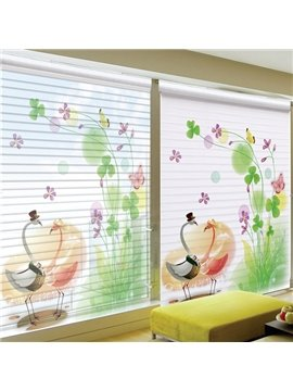 Couple Lovely Cartoon Gooses Printing Shangri-La Blind & Roman Shades