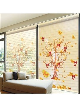 Magic Tree with Gold Coin Printing Shangri-La Blind & Roman Shades