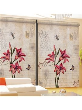 Cute Hand Painted Red Lily Printing 3D Shangri-La Blinds & Roller Shades