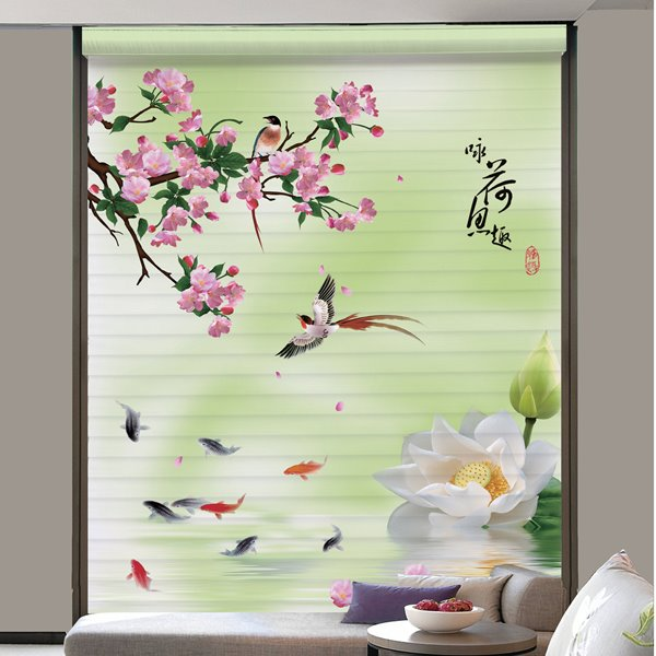 Beautiful Pond Scenery of Spring Printing Shangri-La Blind & Roman Shades