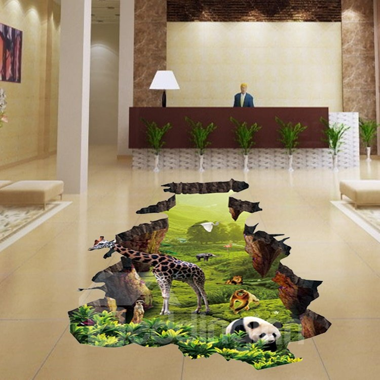 Amusing Broken Hole Animal Pattern Floor Decoration 3D Wall Stickers