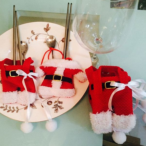 Festival Christmas Decoration Cloth of Santa Claus Pattern Cutlery Covers Set of 2 Pairs