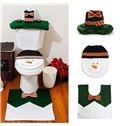 Cute Festival Christmas Decoration Snowman with Bowknot Pattern Closestool Covers