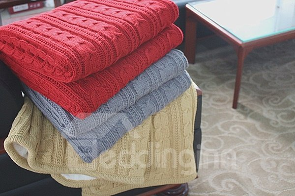 Fancy Solid Color Tigre Cashmere and Orlon Thread Blanket