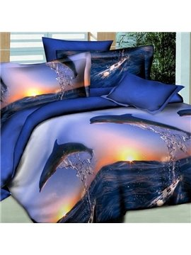 Dolphin Jumping into the Sea Print 2-Piece Pillow Cases