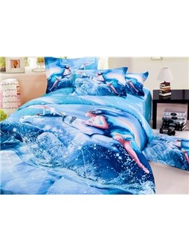 Stylish Taurus 3D Printed 4-Piece Cotton Duvet Cover Sets