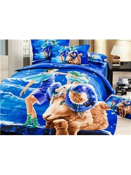 Unique Aries 3D Printed 4-Piece Cotton Duvet Cover Sets