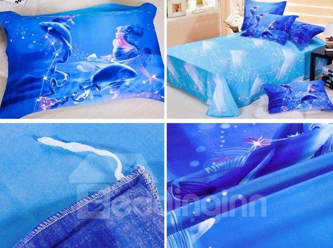 Super Cool 3D Pisces Printed 4-Piece Cotton Duvet Cover Sets