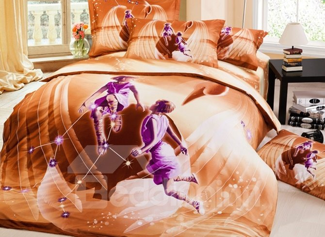 Charming 3D Gemini Printed 4-Piece Cotton Duvet Cover Sets