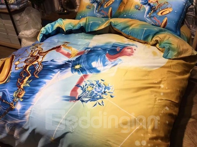 Beautiful Libra Print 4-Piece Cotton Duvet Cover Sets
