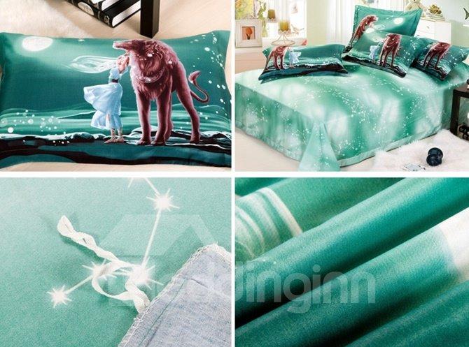 100% Cotton Leo Print 4-Piece Cotton Duvet Cover Sets