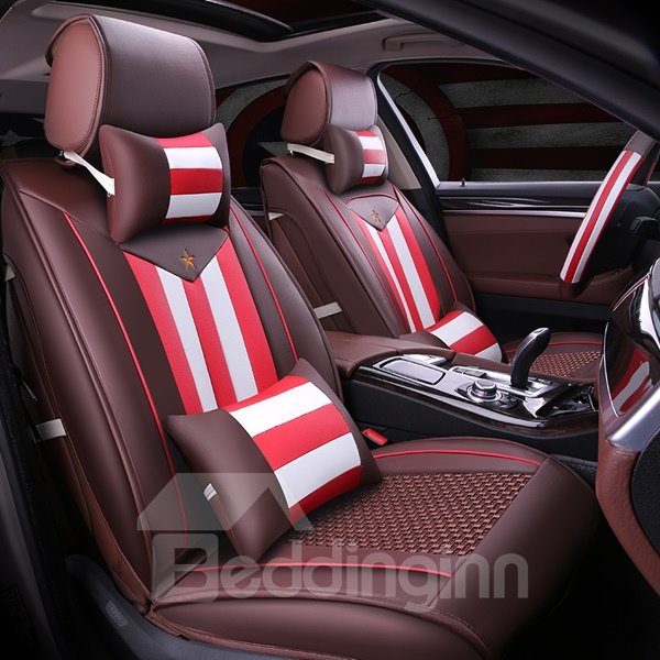 Bright Special Design With Charming Red And White Strip Style Leather Universal Car Seat Cover