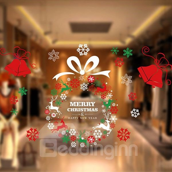 Beautiful Festival Christmas Garland Pattern Wall Sticker