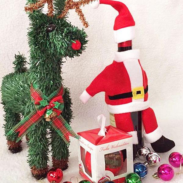 Exquisite Festival Christmas Decoration Santa Claus Cloth Pattern Wine Tote Bag
