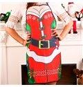 Christmas Santa Claus Character Digital Pattern Apron Festival Kitchen Cloth Decoration