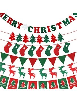 Festival Christmas Decoration Linked Flag Six Patterns for Choose