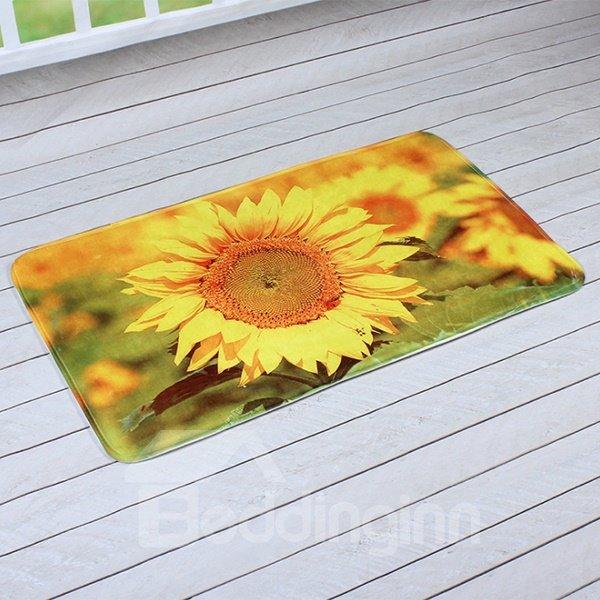 Vivid Golden Sunflower Printing 3D Skid Resistance Bath Rug