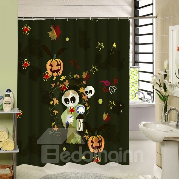 Cartoon Ghost and Pumpkin Lantern Playing Printing 3D Shower Curtain