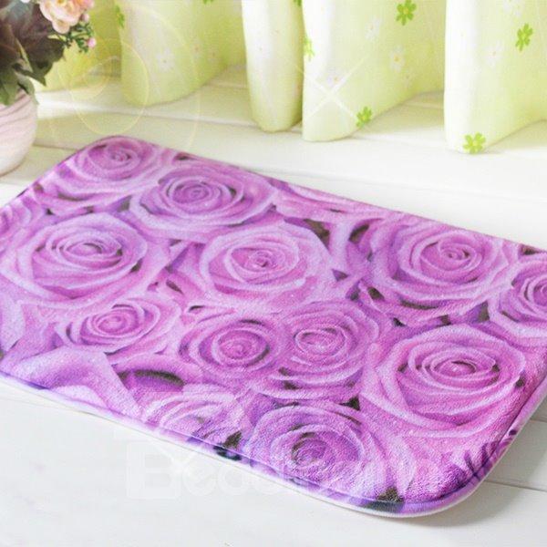 Gorgeous Purple Roses Printing Soft 3D Bath Rug