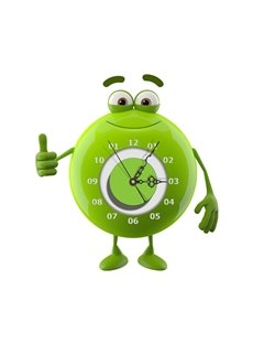 Green Cute Frog Shape Needle and Digital Sticker Wall Clock