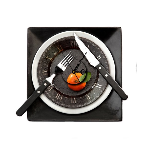 Black Plate Knife and Fork Shape Needle and Digital Sticker Wall Clock