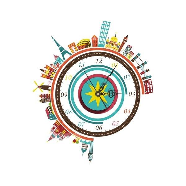 Wonderful World Building Pattern Needle and Digital Sticker Wall Clock