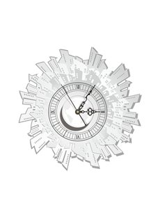 White Irregular Shape Needle and Digital Sticker Wall Clock