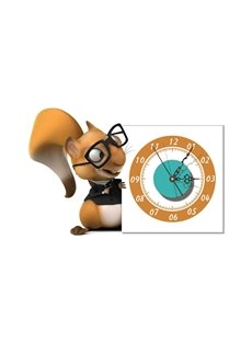 Cute Squirrel Pattern Needle and Digital Sticker Wall Clock