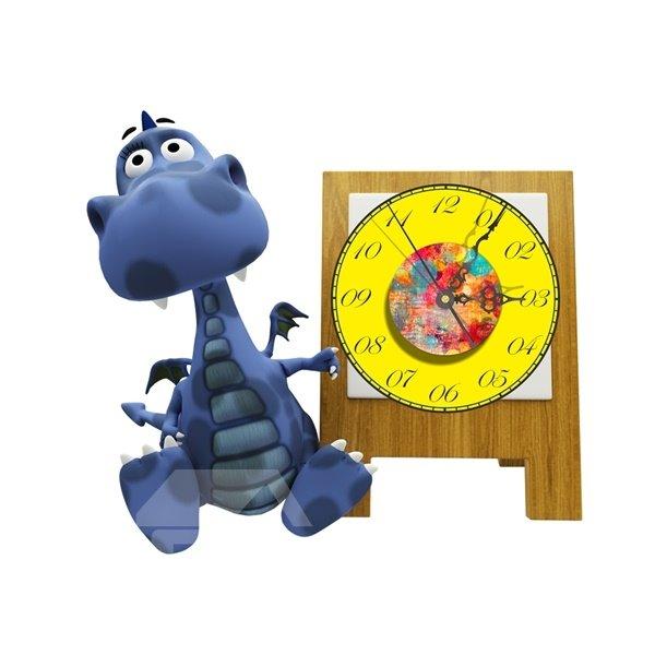 Cartoon Dinosaur Pattern Needle and Digital Sticker Wall Clock