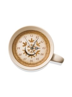 Simple Style Coffee Cup Pattern Needle and Digital Sticker Wall Clock