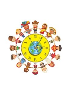 Cartoon Boys and Girls Hand in Hand Needle and Digital Sticker Wall Clock