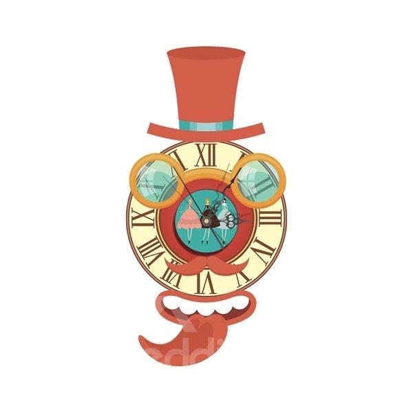 Cute Cartoon Figure Shape Needle and Digital Sticker Wall Clock
