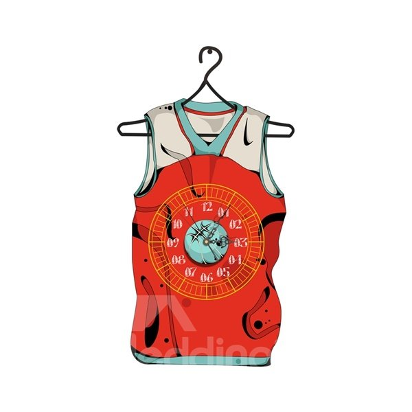 Particular Sports Vest Shape Needle and Digital Sticker Wall Clock