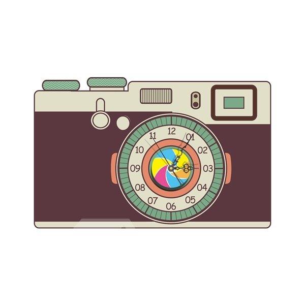 Modern Design Camera Pattern Needle and Digital Sticker Wall Clock