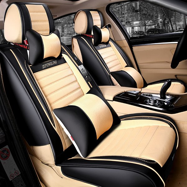 Popular Sport Style PU Leatherette Material Contrast Color Universal Five Car Seat Cover