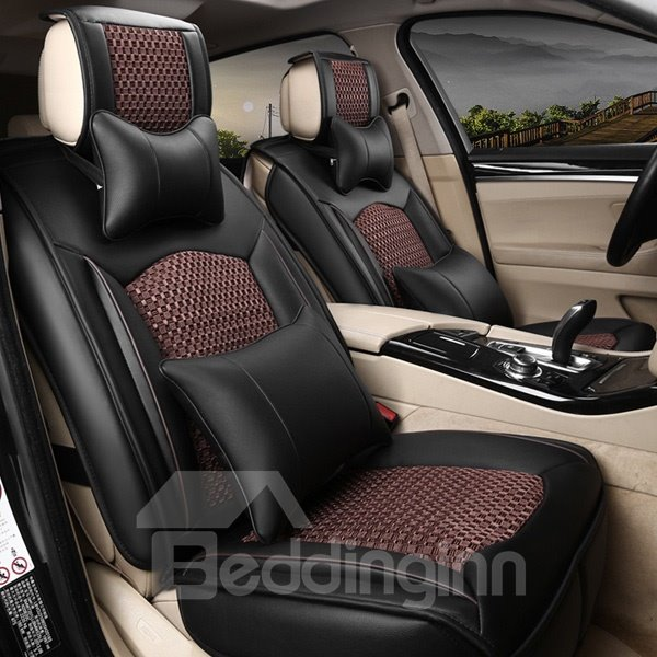 Rubbing Dirt Practical Leather With Ice Silk Mixed Universal Car Seat Cover