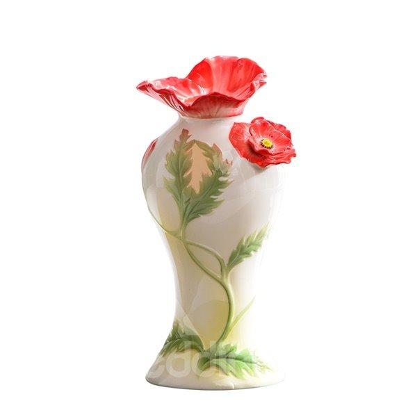 Fresh Ceramic Flower Pattern Flower Vase Painted Pottery