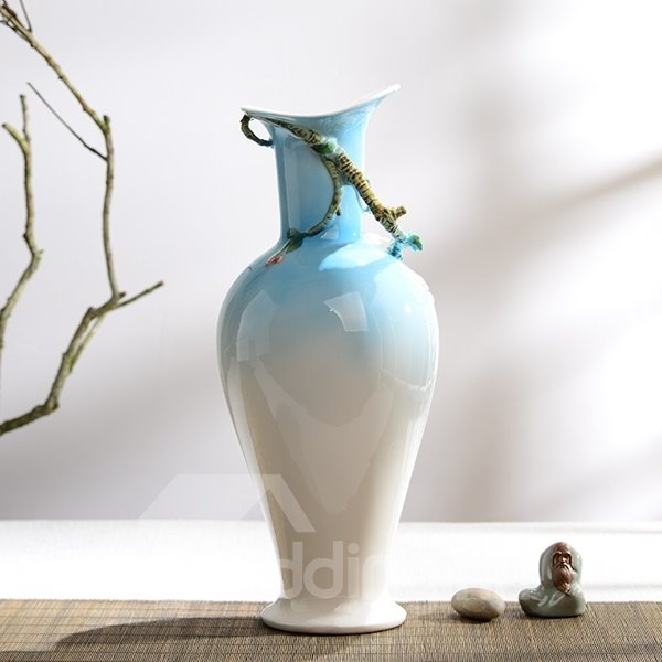 Blue and White Ceramic Flower and Bird Pattern Painted Pottery