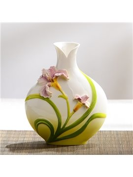 Elegant Ceramic Lily Pattern Flower Vase Painted Pottery