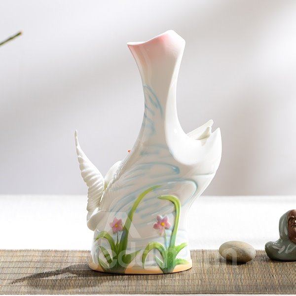 Delicate Two Lovely Swan Pattern Flower Vase Painted Pottery